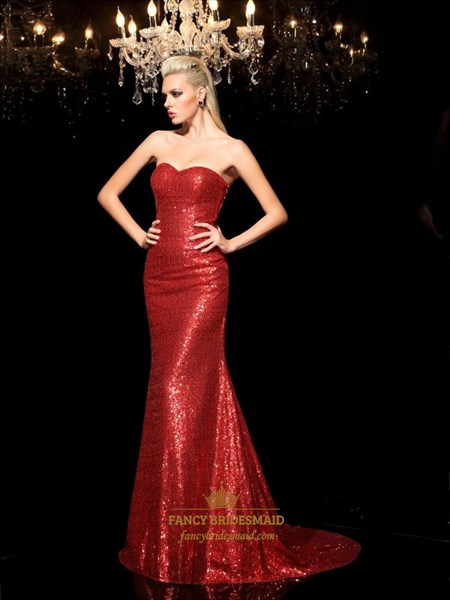 Simple Red Sweetheart Sequin Mermaid Prom Dress With Train