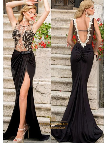 Illusion Black Sheer Lace Open Back Ruched Mermaid Dress With Split