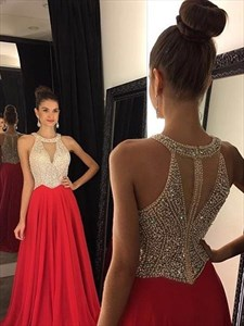 Stylish Sleeveless Halter Beaded Bodice Maxi Dress With Keyhole Front