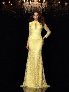 Long Sleeve High Neck Keyhole Sheath Lace Prom Dress With Open Back