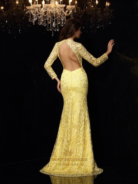 Long Sleeve High Neck Keyhole Sheath Lace Prom Dress With Open Back