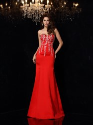 Red Sweetheart Beaded Neckline Embroidered Chiffon Prom Dresses