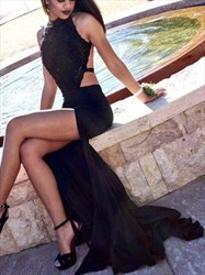Black A Line Sleeveless Halter Open Back Split Prom Dress With Train