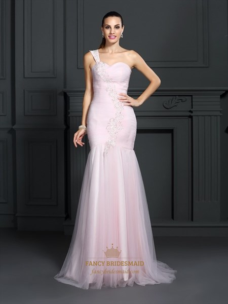 Sheath/Column Sweetheart Sleeveless Tulle Prom Dresses With Lace