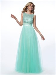 A-Line Bateau Sleeveless Tulle Prom Dresses With Beaded