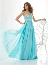 Princess Aqua Blue Sweetheart Beaded Bodice Chiffon Prom Dresses