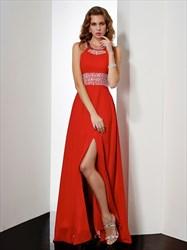 Elegant A Line Halter Beaded Keyhole Front Split Prom Dress