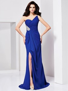 Pleated Royal Blue One Shoulder Backless Prom Dress With Split Front