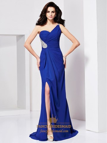 Pleated Royal Blue One Shoulder Backless Prom Dress With Split Front ...