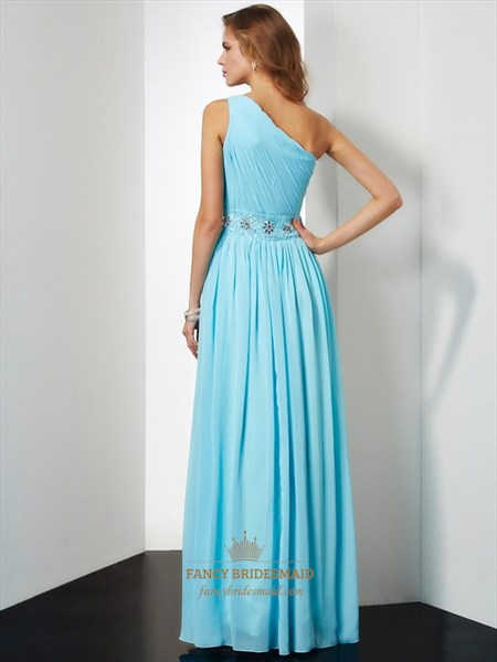 Sky Blue One Shoulder Ruched Bodice Beaded Chiffon Prom Dress