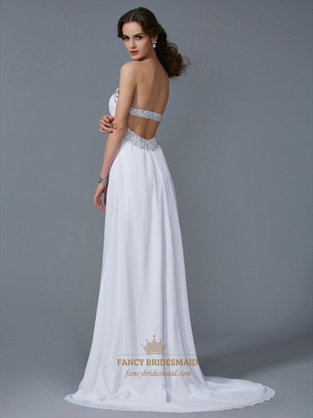 Elegant A-Line Strapless Beaded Open Back Prom Dresses With Train