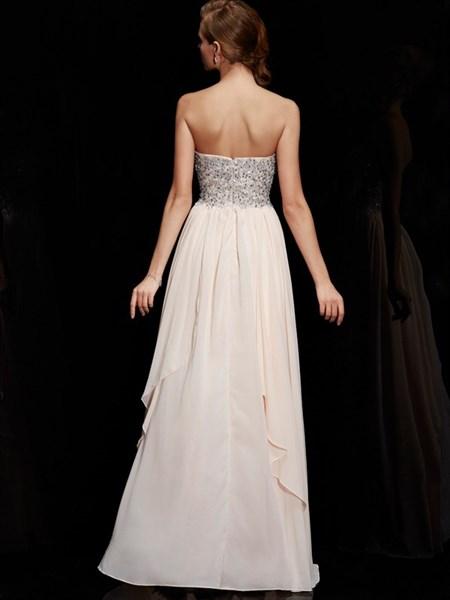 Pearl Pink Sweetheart Beading Bodice Tiered Ruffle Chiffon Dress