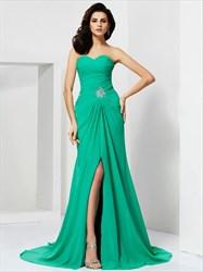 Green Sweetheart Beaded Waist Floor Length Prom Dress With Split