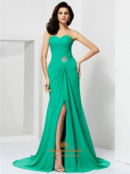 Green Sweetheart Beaded Waist Floor Length Prom Dress With Split