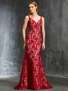 Elegant Red Spaghetti Strap V Back Lace Overlay Floor Length Dress