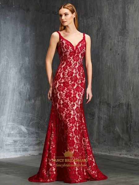 Elegant Red Spaghetti Strap V Back Lace Overlay Floor Length Dress