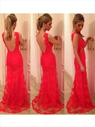 Sleeveless Sheath Open Back Cut Out Prom Dress With Lace Applique
