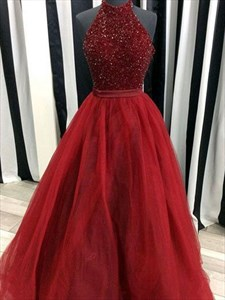 Halter Sleeveless Open Back Beaded Tulle Skirt Ball Gown Prom Dress