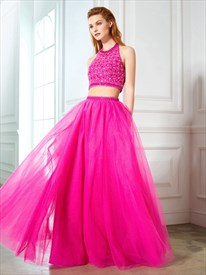 Fuchsia Two Piece Halter Beaded Bodice Tulle Ball Gown Prom Dress