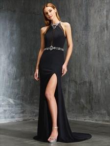 Black A-Line Rhinestone Keyhole Back Chiffon Prom Dress With Split