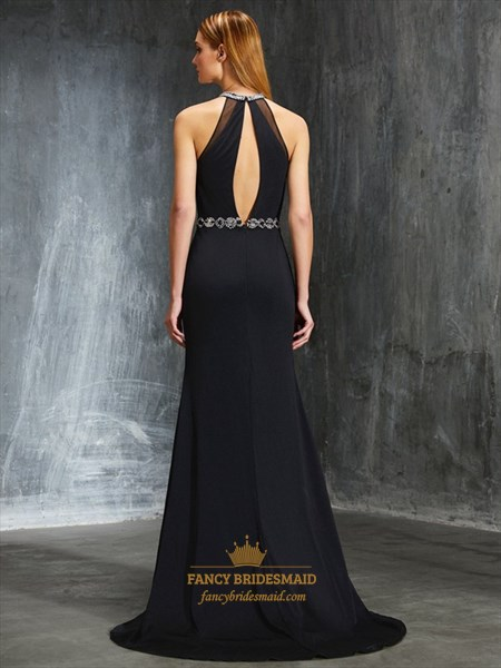 Black A-Line Rhinestone Keyhole Back Chiffon Prom Dress With Split