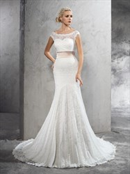 Illusion Off The Shoulder Buttons Sash Lace Wedding Dress With Train
