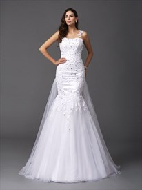 Sleeveless One Shoulder Beaded Lace Applique Dress With Tulle Skirt