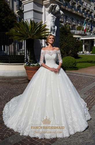 Off The Shoulder Lace Half Sleeve Buttons Ball Gown Wedding Dress