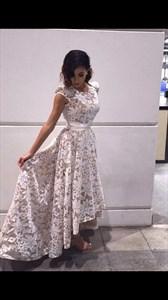 Elegant Jewel Neckline Sleeveless High Low Lace Bridesmaid Dress