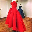 Red Sweetheart Sleeveless Satin Ball Gown Prom Dress With Ruffles