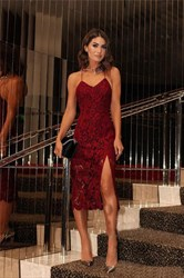 Spaghetti Strap Backless Tea Length Sheath Lace Prom Dress With Split