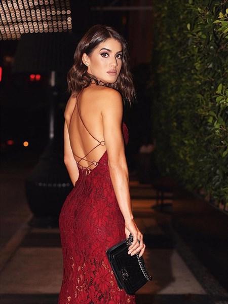 Spaghetti Strap Backless Tea Length Sheath Lace Prom Dress With Split