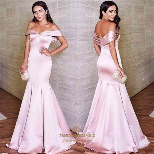 Pink Off The Shoulder Cap Sleeve Mermaid Satin Long Prom Dress