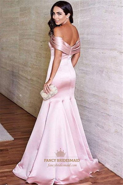 Pink Off The Shoulder Cap Sleeve Mermaid Satin Long Prom Dress