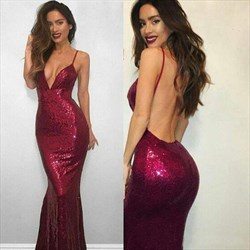Glamorous Burgundy V Neck Sleeveless Mermaid Sequin Prom Dress