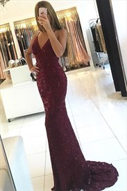 Spaghetti Strap Beaded Lace Overlay Floor Length Prom Dressss
