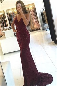 Spaghetti Strap Beaded Lace Overlay Floor Length Prom Dressss