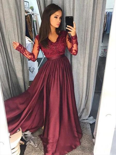 V Neck Sheer Lace Applique Long Sleeve Satin Dress With Front Split