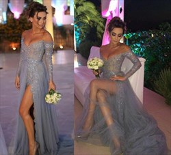 Grey A Line Off The Shoulder Beaded Tulle Prom Dress With Train