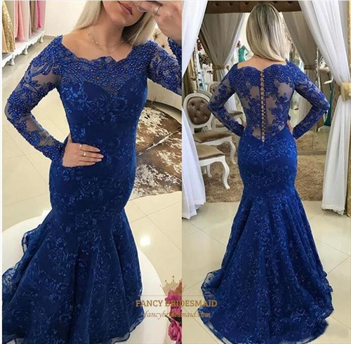 Illusion Royal Blue Lace Overlay Mermaid Prom Dress With Buttons