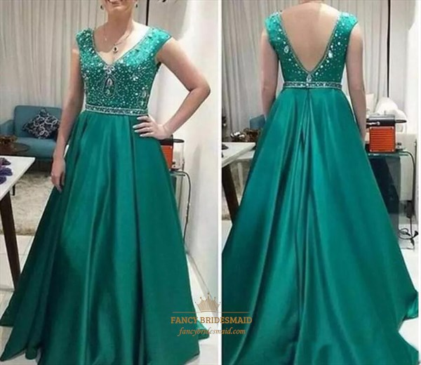 Green A Line V-Plunge Neckline Sleeveless Crystal Satin Prom Dress