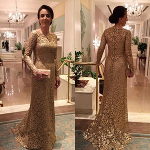 Gold Bateau Lace Overlay Floor Length Mermaid Dress With Sleeves