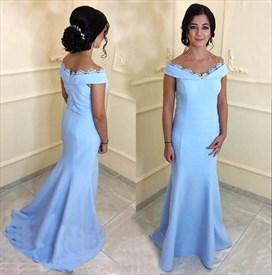Simple Light Blue Off The Shoulder Lace Embellished Satin Prom Dress