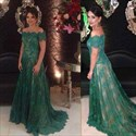 Emerald Green Short Sleeve Lace Floor Length Dresses With Buttons