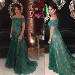 Emerald Green Short Sleeve Lace Floor Length Dresses With Ons