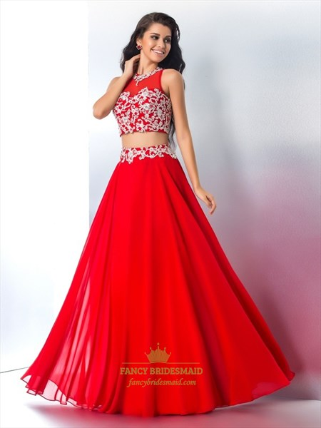 Red A-Line Sheer High Neck Beaded Chiffon Two Piece Prom Dress
