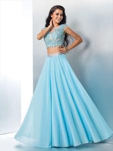 Sky Blue Bateau Sequin Applique Two Piece Prom Dress With Cap Sleeve