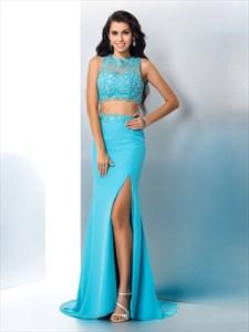 Illusion Beaded Floor Length Applique Two Piece Prom Dress With Split