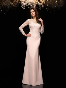 Chiffon Beaded Bodice Prom Dress With Illusion Long Sleeves