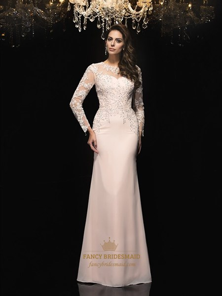 Chiffon Beaded Bodice Prom Dress With Illusion Long Sleeves